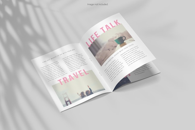 Rendu de conception de maquette de magazine ouvert