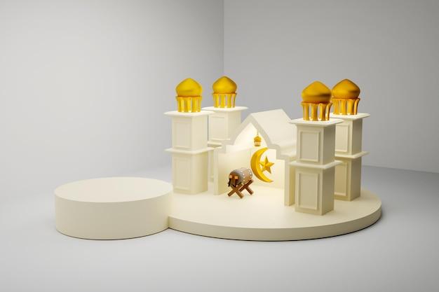 Rendu de conception de podium de décoration islamique