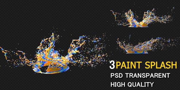 Rendu des éclaboussures de peinture colorée isolé