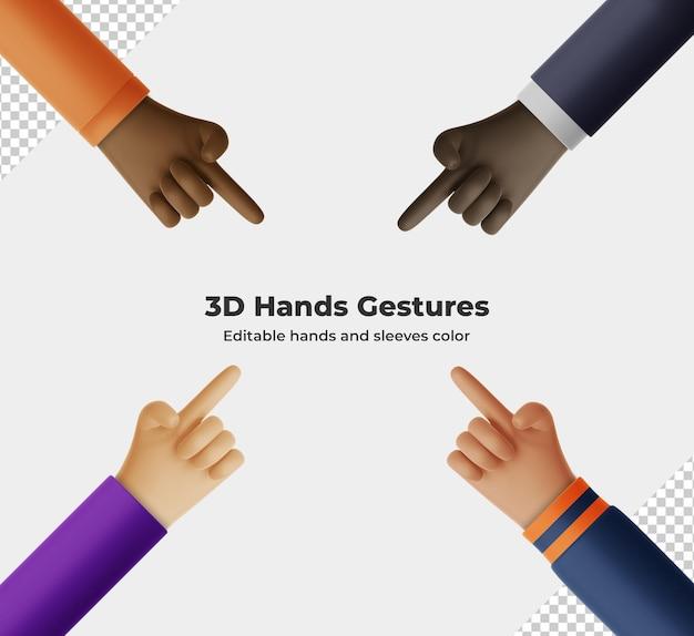 Rendu de geste de main de dessin animé 3d