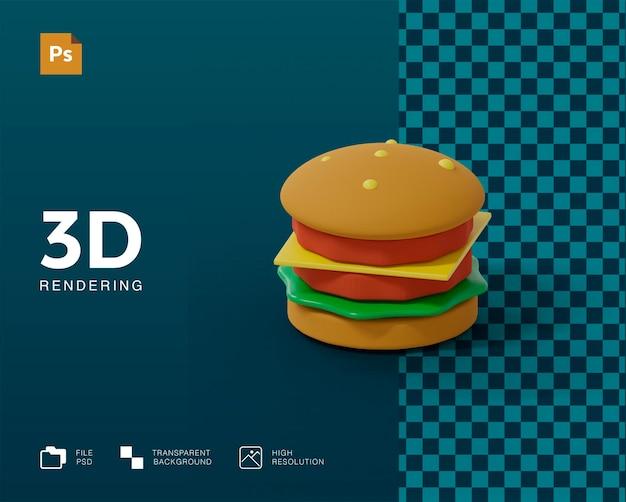 Rendu de hamburger 3d isolé