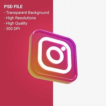 Rendu d'icône 3d du logo instagram isolé