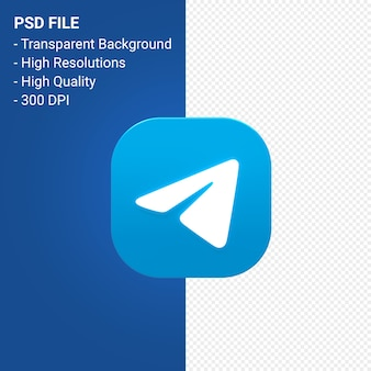 Rendu d'icône 3d télégramme logo isolé