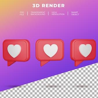 Rendu d'icône de bouton d'amour des médias sociaux emoji 3d