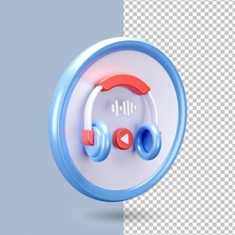 Rendu d'icône de casque 3d isolé