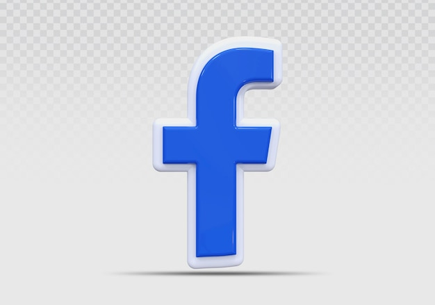 Rendu de l'icône facebook 3d concept créatif