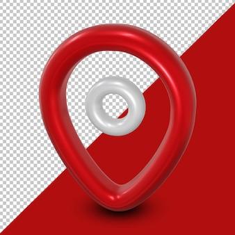 Rendu d'icône de localisation rouge et blanc 3d