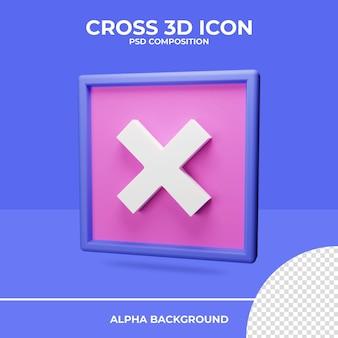 Rendu D'icône De Rendu 3d Croisé PSD Premium
