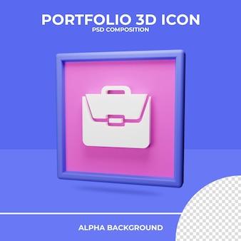 Rendu de l'icône de rendu 3d portefeuille