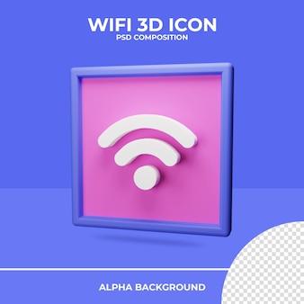 Rendu d'icône de rendu 3d wifi