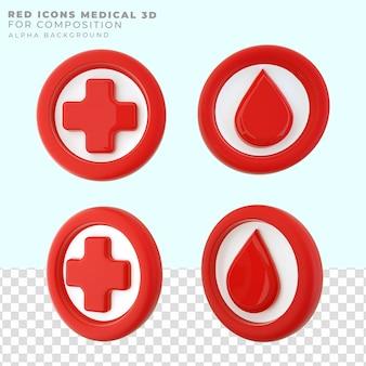 Rendu des icônes de santé rouge 3d