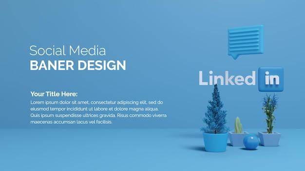 Rendu d'illustration 3d logo linkedin avec arbre tob sur fond de couleur dégradé