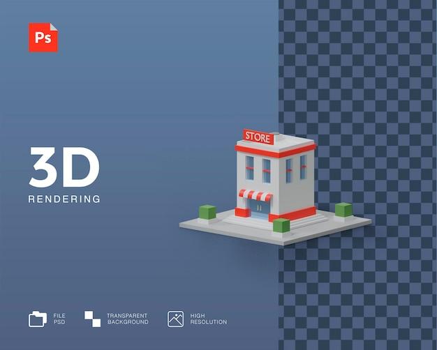 Rendu d'illustration de bâtiment de magasin 3d