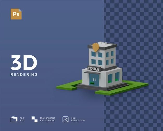 Rendu d'illustration de bâtiment de police 3d