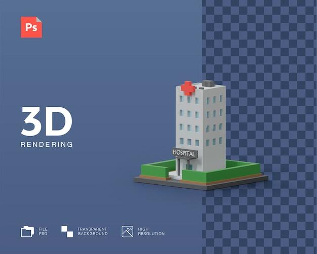 Rendu d'illustration d'hôpital de bâtiments 3d