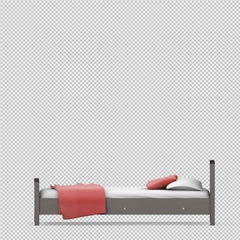 Rendu isométrique du lit 3d