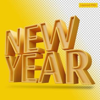 Rendu de lettre audacieuse de nouvel an isolé