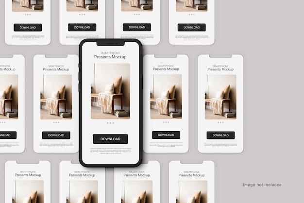 Rendu de maquette d'argile et d'écran de smartphone isolé