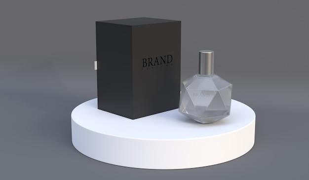 Rendu de maquette d'emballage de parfum pour la conception de produit psd