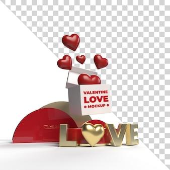 Rendu de maquette de scène d'amour de valentine 3d isolé