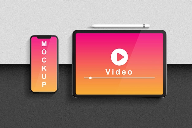 Rendu minimal de conception de maquette de smartphone et de tablette
