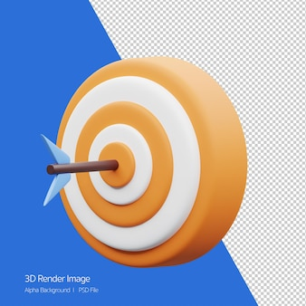 Rendu d'objet 3d de jeu de fléchettes avec icône flèche isolé sur blanc.