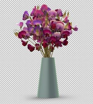 Rendu de plante isolée. fleurs en pot. vue de face isométrique. 3d. créateur de scène.