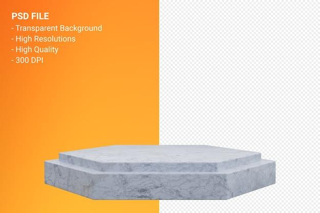 Rendu de podium en marbre blanc minimal isolé