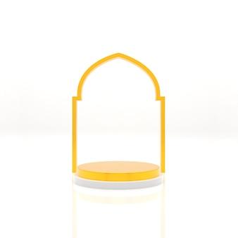 Rendu réaliste de décoration d'affichage de podium islamique