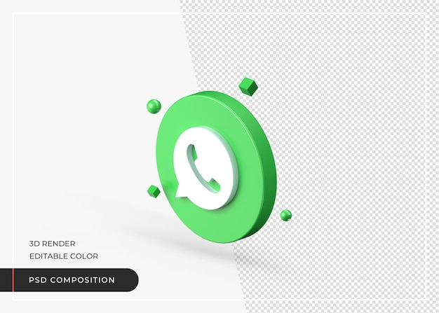 Rendu réaliste d'icône 3d whatsapp