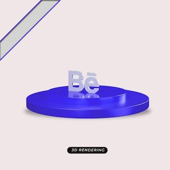 Rendu réaliste de l'icône argent behance 3d