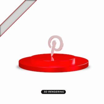Rendu réaliste de l'icône argent pinterest 3d