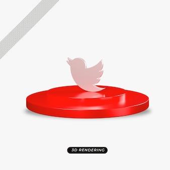 Rendu réaliste de l'icône d'argent twitter 3d