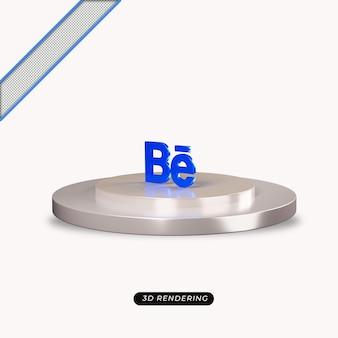 Rendu réaliste de l'icône behance 3d