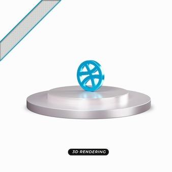 Rendu réaliste de l'icône bleue dribble 3d