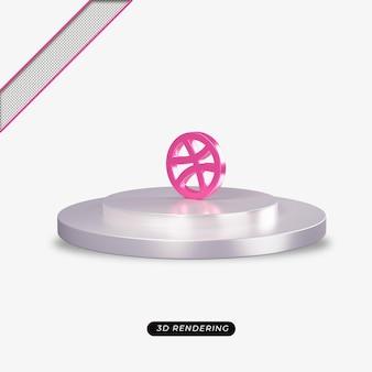 Rendu réaliste de l'icône rose dribble 3d
