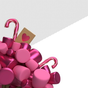 Rendu de la saint-valentin avec des bonbons