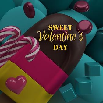 Rendu de la saint-valentin avec des glaces colorées et des bonbons