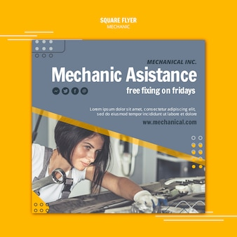 Réparez votre flyer carré d'assistance mécanicien automobile