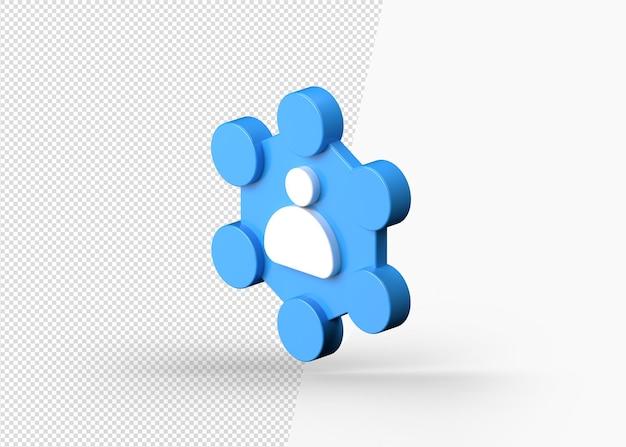 Réseau d'entreprise et communication isolé icône 3d vue de dessus gauche