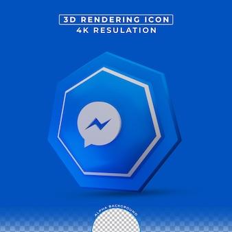 Réseau de médias sociaux messenger rendu 3d icône
