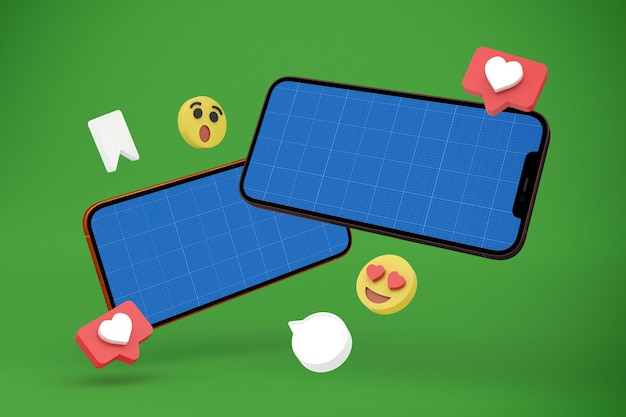 Réseaux sociaux et maquette de téléphone