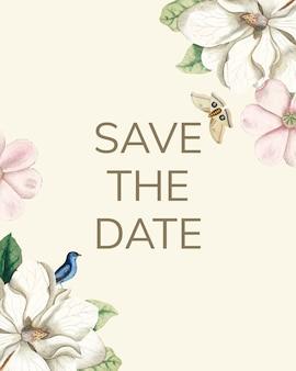 Réservez la carte de maquette d'invitation de mariage de date