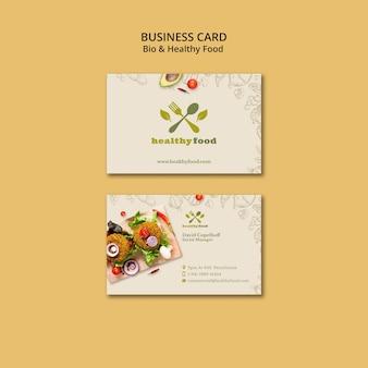 Restaurant avec modèle de carte de visite de nourriture saine