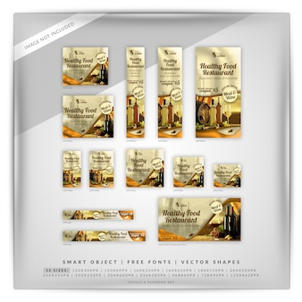 Restaurant de nourriture saine google banner set