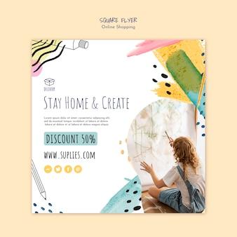 Restez à la maison et créez un modèle de flyer carré d'artiste