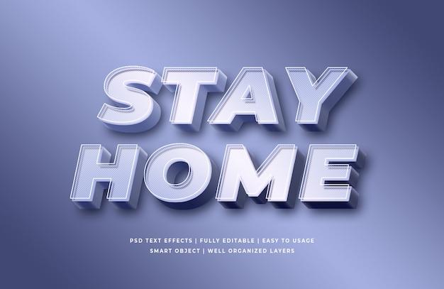 Restez à la maison effet de style de texte 3d