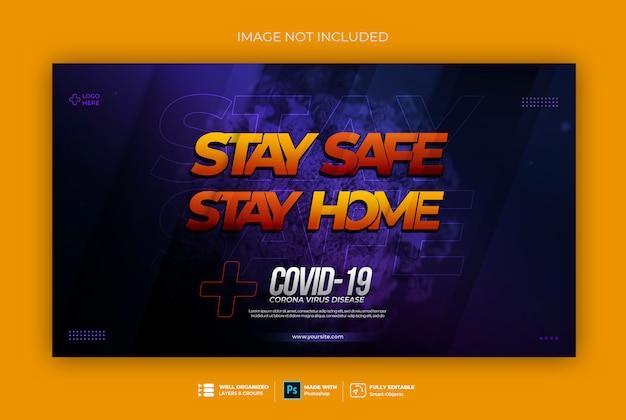 Restez à la maison restez en sécurité coronavirus 3d modèle de bannière web de style de texte