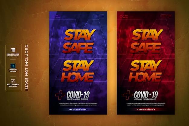 Restez à la maison, restez en sécurité, modèle d'histoire instagram de style de texte médical coronavirus 3d