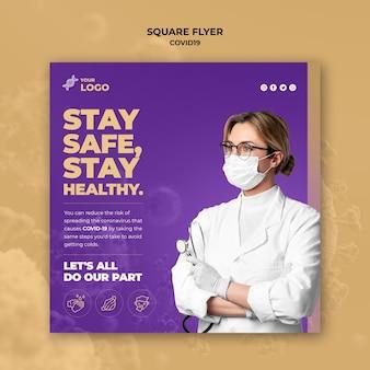 Restez en sécurité et en bonne santé modèle de flyer carré covid-19